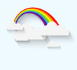 Rainbow and clouds in flat style with long whadow
