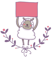 pecorella sorridente tiene un cartello vuoto