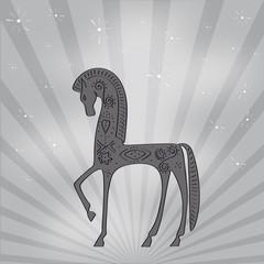cheval style étrusque gris