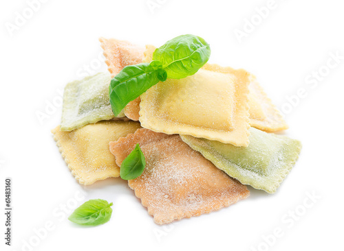raw ravioli and basil