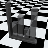 Abstract business graph on chessboard, 3d