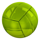 Green glossy volleyball ball, 3d