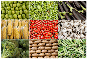 Grid of Vegetables and Fruits