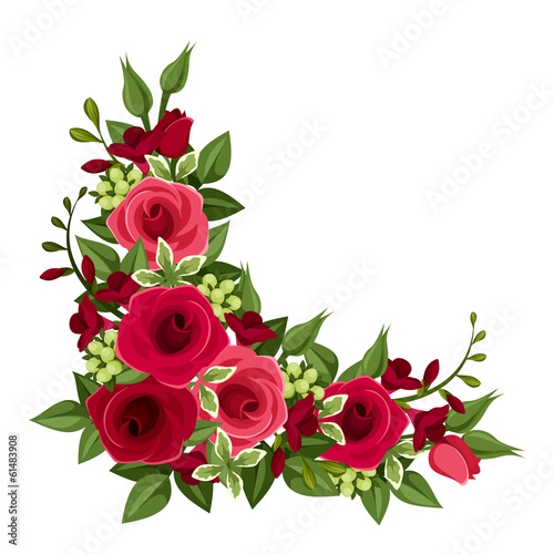 Red roses corner. Vector illustration.