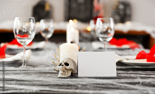Halloween dinner table setting