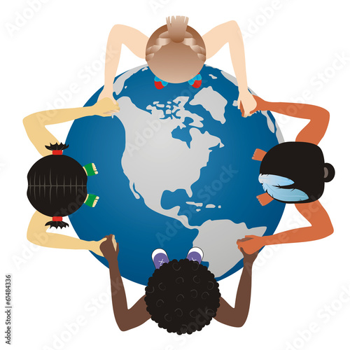 Vector world globe on children