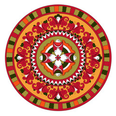Russian traditional circle ornament  with flowers