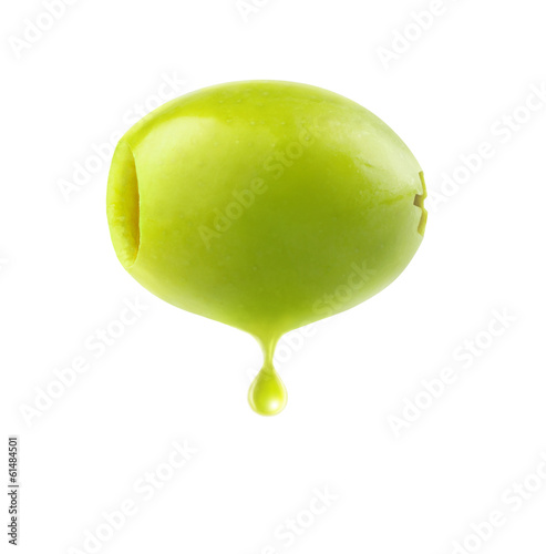 Green olive with drop of oil isolated on white
