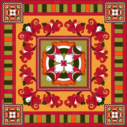 Russian traditional square ornament with flowers