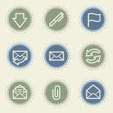 Email web icon set, vintage buttons
