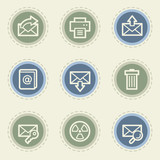 Email web icon set 2, vintage buttons