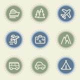 Travel web icon set 1, vintage buttons