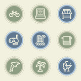 Vacation web icon set, vintage buttons