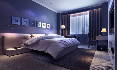 Bedroom interior, evening lighting
