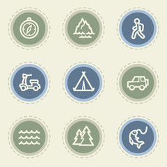 Travel web icon set 3, vintage buttons