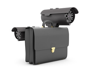 Two surveillance video cameras and business briefcase