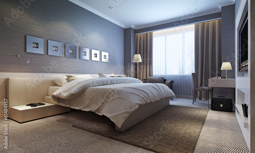 bedroom interior, modern style