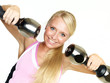 Woman has fun to exercise with free weights