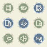 Audio video edit  web icon set, vintage buttons