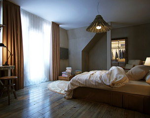 interior bedroom, rustic style