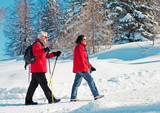 walking in snow 04 / seniors, nordic walking in winter