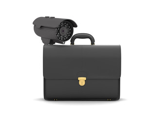 Business briefcase and video surveillance camera
