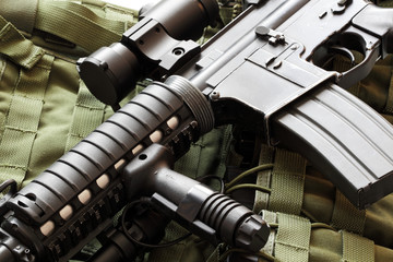 AR-15 carbine and tactical vest