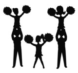 cheerleaders in silhouette in formation