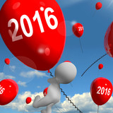 Two Thousand Sixteen on Balloons Shows Year 2016