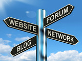 Website Forum Blog Network Signpost Shows Internet