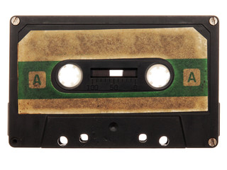 old, dirty, black, retro music audio tape