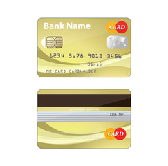 Plastic bank card template gold