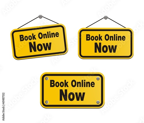 book online now - yellow signs