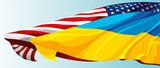 The national flag of the United States of America and Ukraine