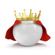 White Ball with Golden Crown and Raincoat isolated on white