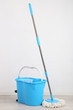canvas print picture - Floor mop and bucket for washing in room