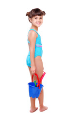 Girl in a swimsuit isolated on white