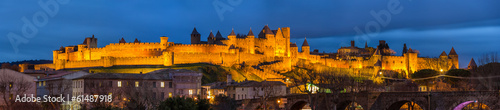 Evening panorama of Carcassonne fortress - France, Languedoc-Rou