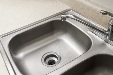 Empty Stainless Steel Kitchen Sink