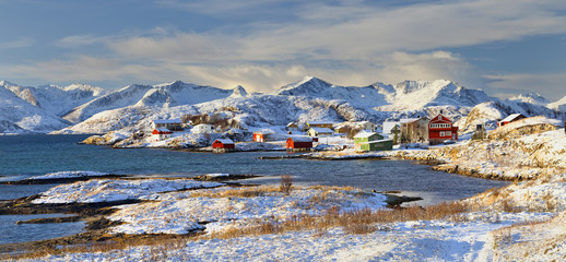 Coastal landscape and fishing village in Sommaroy. Norway
