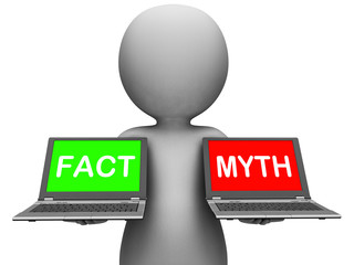 Fact Myth Laptops Show Facts Or Mythology
