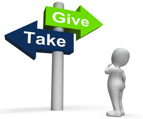 Give Take Signpost Shows Giving and Taking