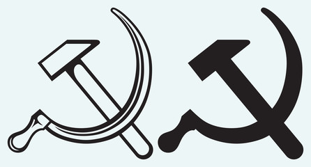 Hammer and sickle isolated on blue background