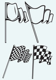 Checkered flags isolated on blue background