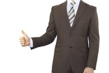 Businessman in a suit holding his thumb up