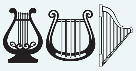 Illustration of lyre isolated on blue background