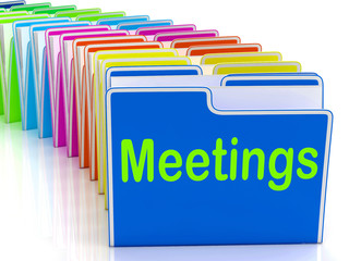 Meetings Folders Means Talk Discussion Or Conference
