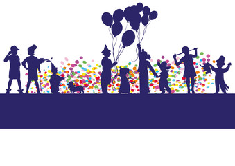 children,shiloutte,balloon,confetti,party,background