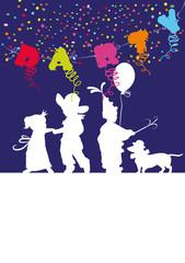 Kinder, Karneval,Party,Dackel,Luftballon,Shiloutten
