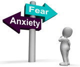 Fear Anxiety Signpost Shows Fears And Panic